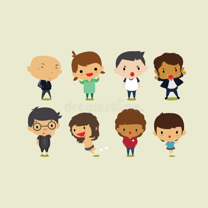 Meninos bonitos dos desenhos animados e meninas Set2 Ilustração do clipart do vetor ilustração do vetor