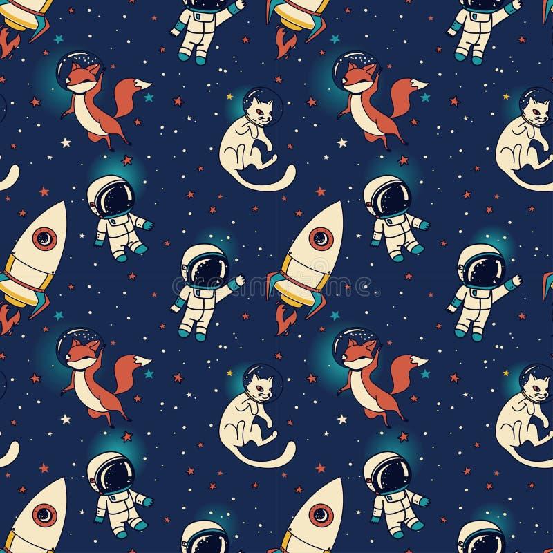 Meninos bonitos, foguetes, raposas e gatos da garatuja flutuando no espaço ilustração royalty free