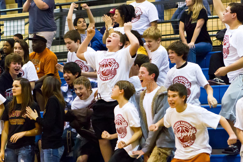 Meninos Cheering da High School imagens de stock