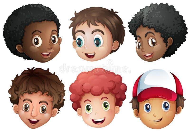 Meninos com cara feliz ilustração stock