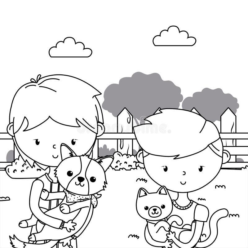 Meninos com projeto dos desenhos animados do gato e do cão ilustração do vetor