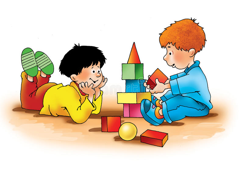 Meninos das crianças que jogam o treinamento dos dados ilustração do vetor