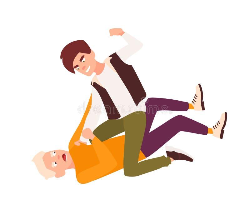 Meninos de combate e de altercações irritados Conflito entre crianças, comportamento violento entre adolescentes, violência das c ilustração stock