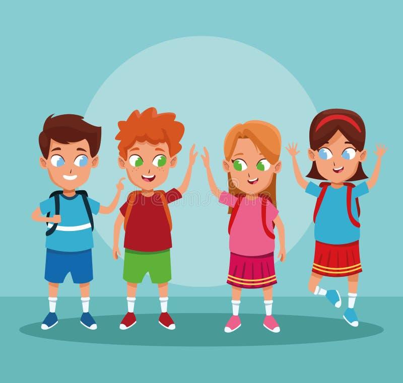 Meninos de escola e desenhos animados das meninas ilustração royalty free