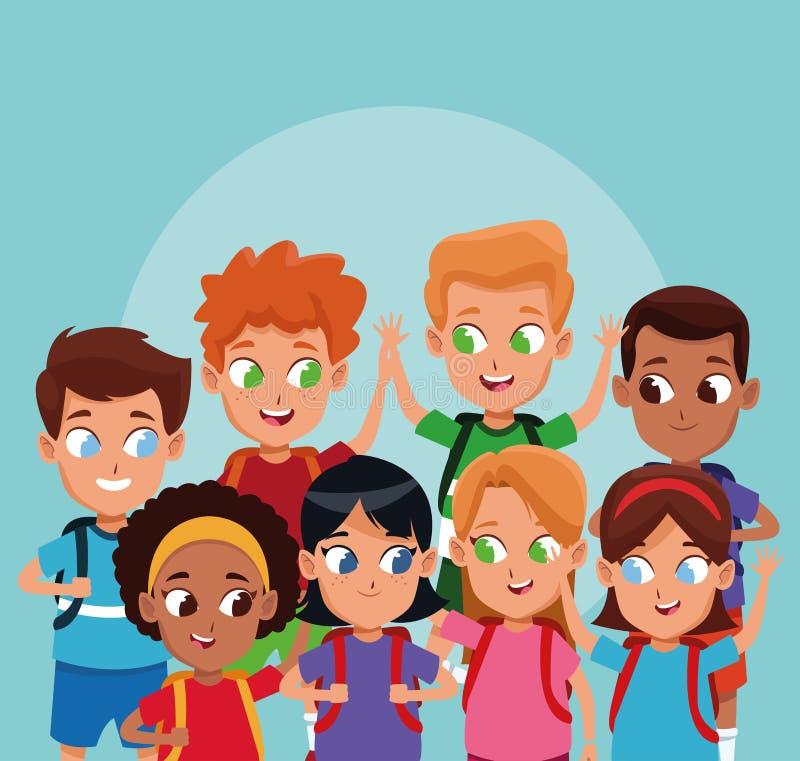 Meninos de escola e desenhos animados das meninas ilustração do vetor