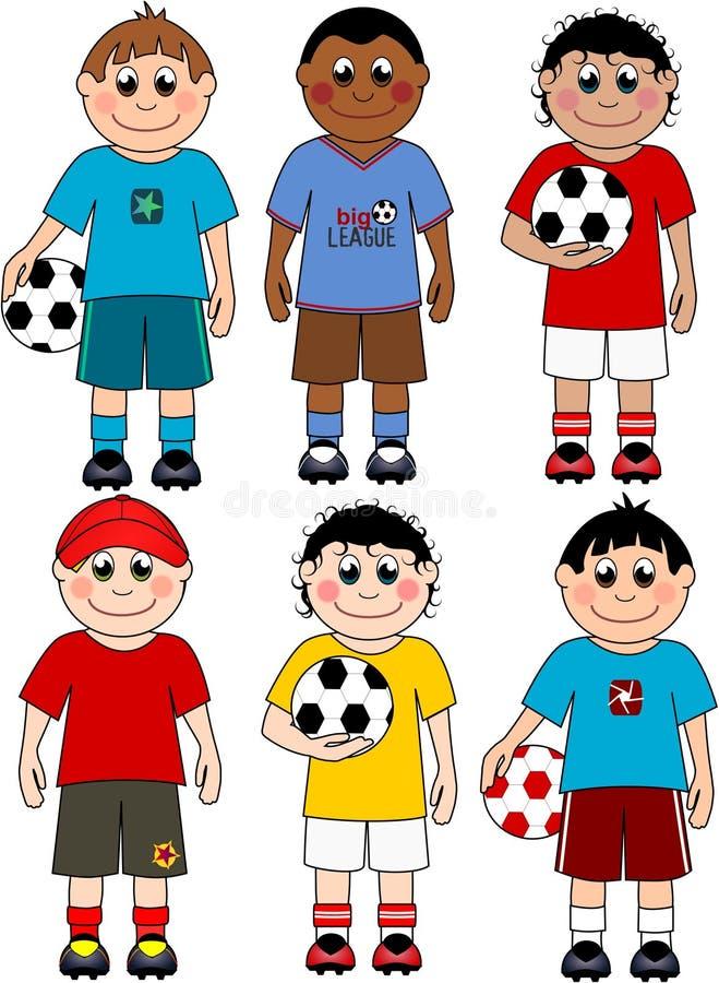 Meninos do futebol ilustração stock