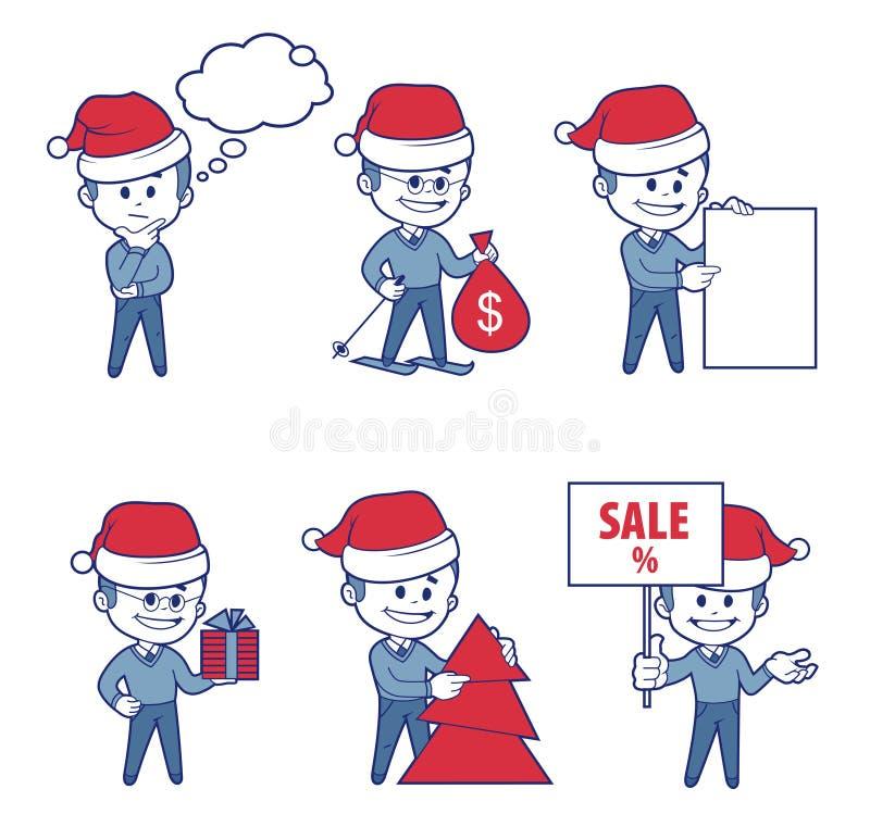 Meninos dos caráteres do negócio para a bandeira da venda do feriado ilustração stock