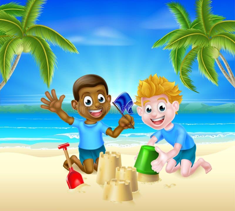 Meninos dos desenhos animados dos jogos da praia ilustração royalty free