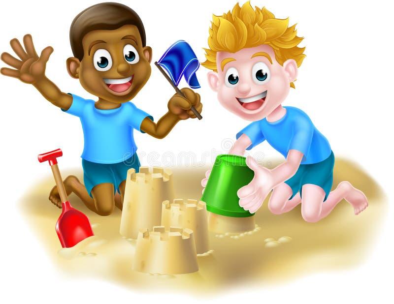 Meninos dos desenhos animados que fazem castelos de areia ilustração royalty free