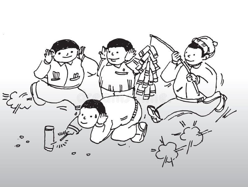 Meninos e fogos-de-artifício ilustração do vetor