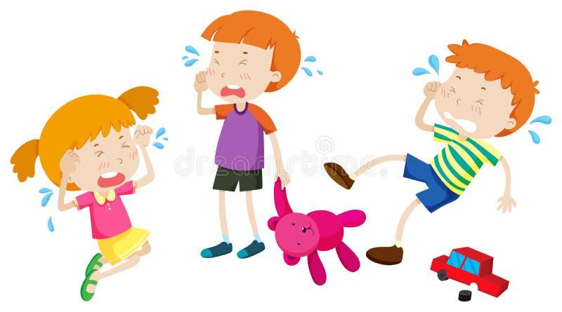 Meninos e grito da menina ilustração royalty free