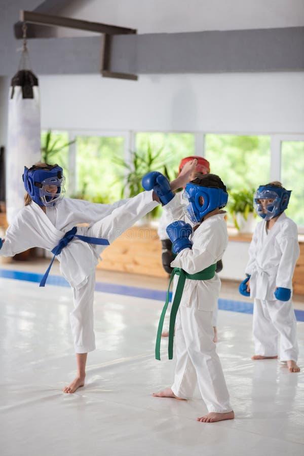 Meninos e menina que têm uma luta ao estudar a arte marcial fotos de stock