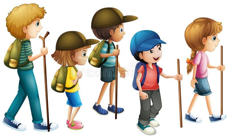 Meninos e meninas com caminhada do equipamento ilustração royalty free