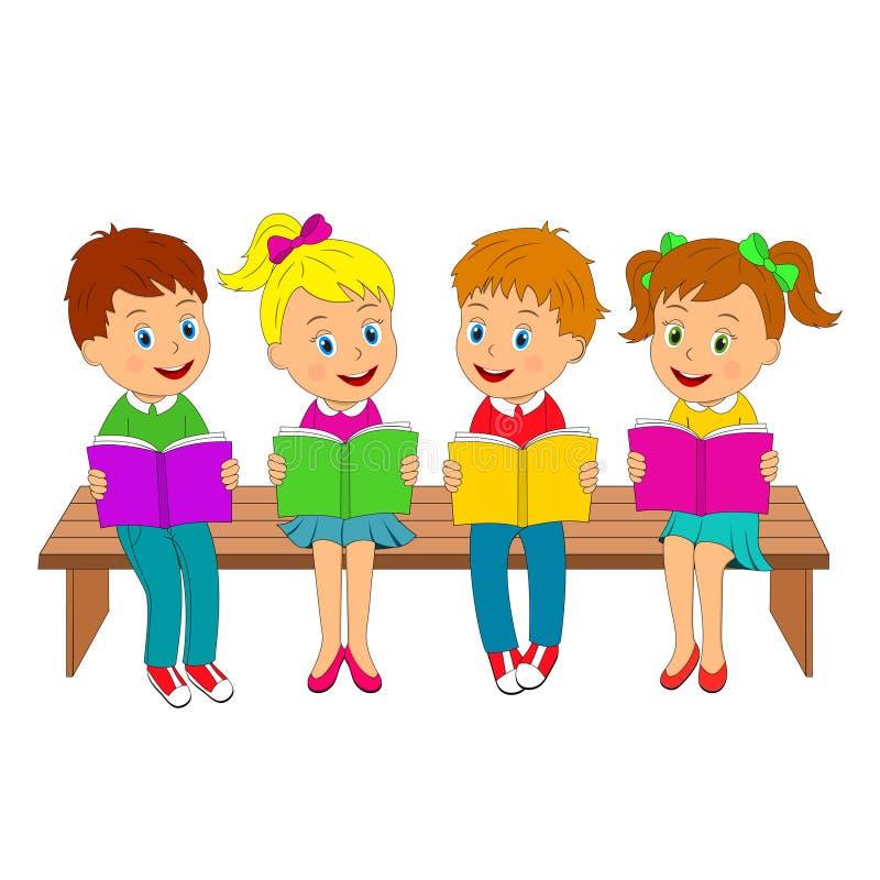 Meninos e meninas com os livros no banco ilustração stock