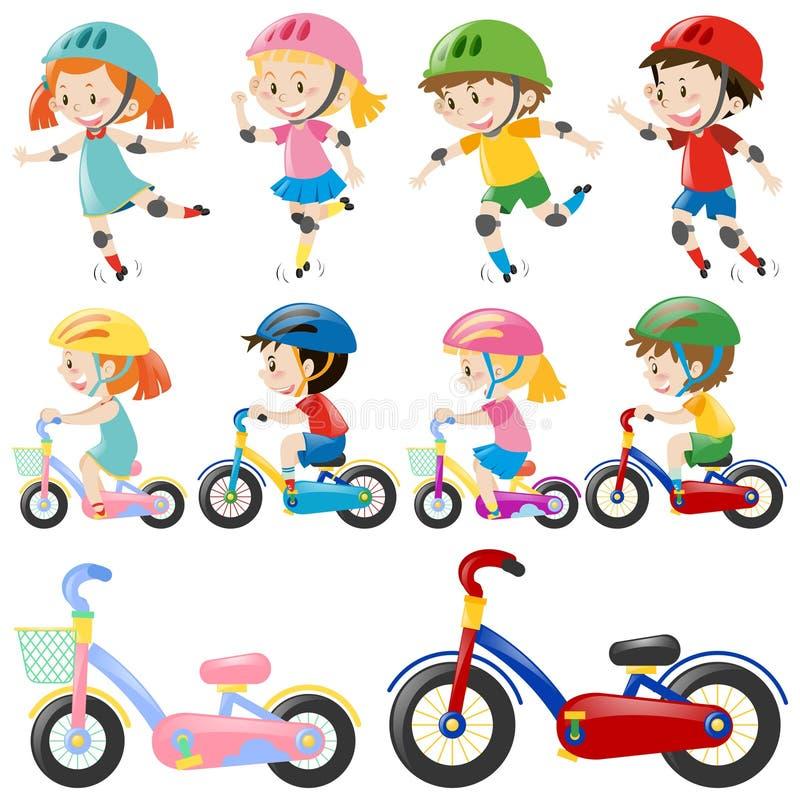 Meninos e meninas na bicicleta ilustração royalty free
