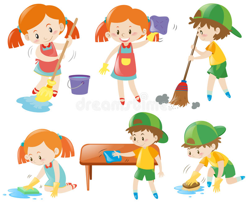 Meninos e meninas que fazem tarefas ilustração royalty free