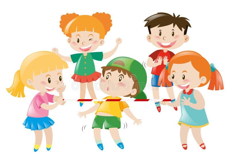 Meninos e meninas que jogam o jogo ilustração royalty free