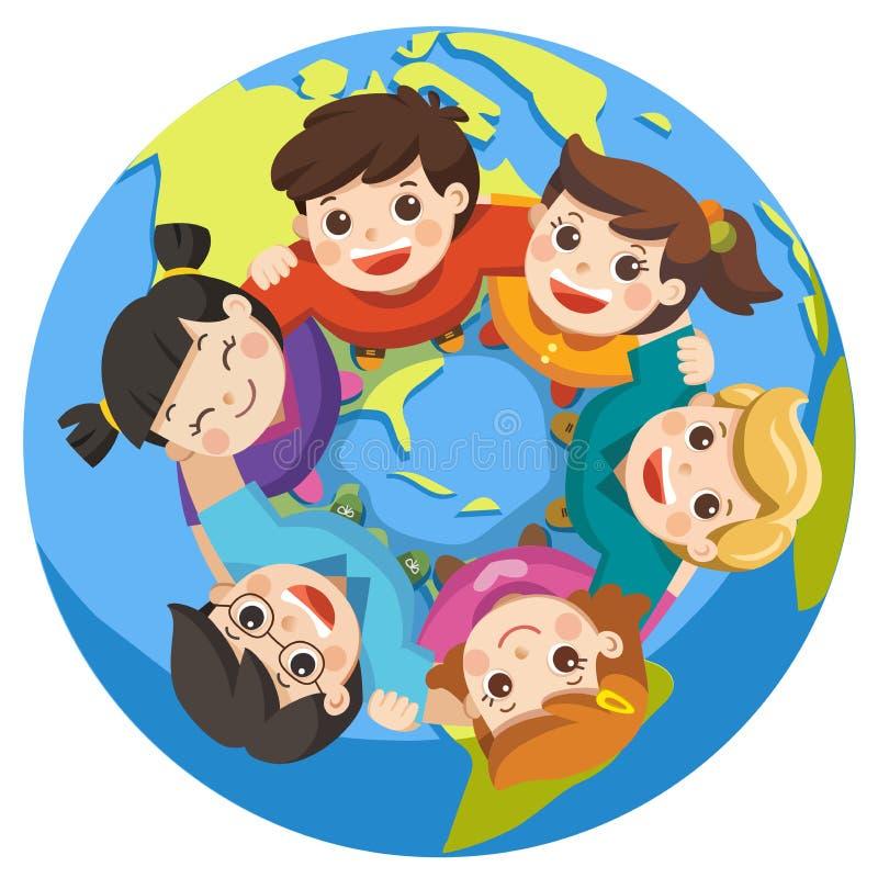 Meninos e meninas que levantam-se e que olham no visor ilustração stock