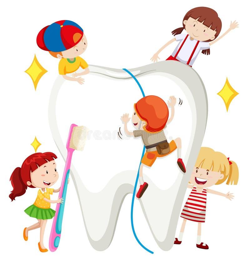 Meninos e meninas que limpam o dente ilustração stock