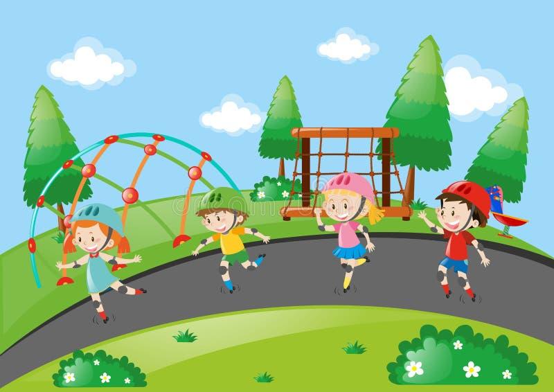 Meninos e meninas que patinam na estrada ilustração royalty free