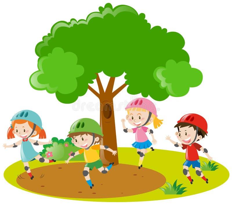 Meninos e meninas que patinam no parque ilustração stock