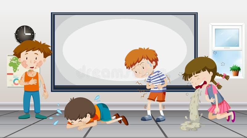 Meninos e meninas que são doentes na sala de aula ilustração do vetor