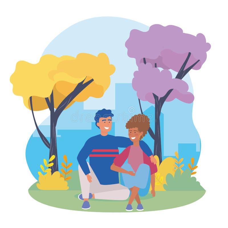 Meninos e pares da menina com roupa ocasional ilustração do vetor