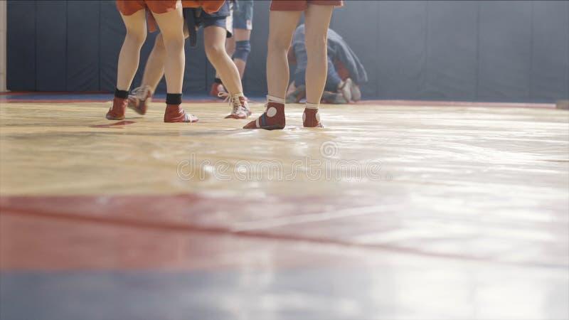 Meninos em lutas do quimono, treinamento do judô da criança Crianças no treinamento para o judô As jovens crianças são contratada imagens de stock royalty free