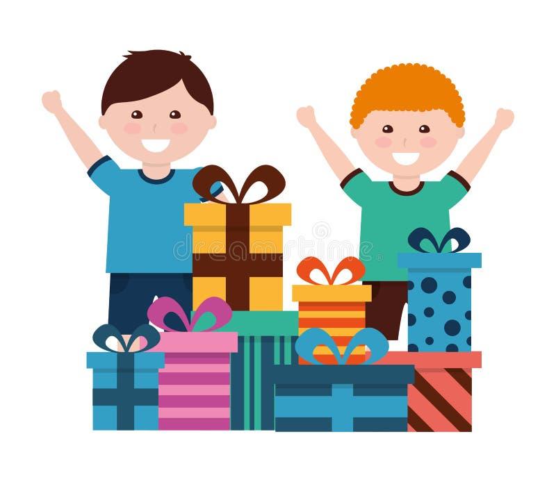 Meninos felizes com celebração dos presentes de aniversário ilustração do vetor