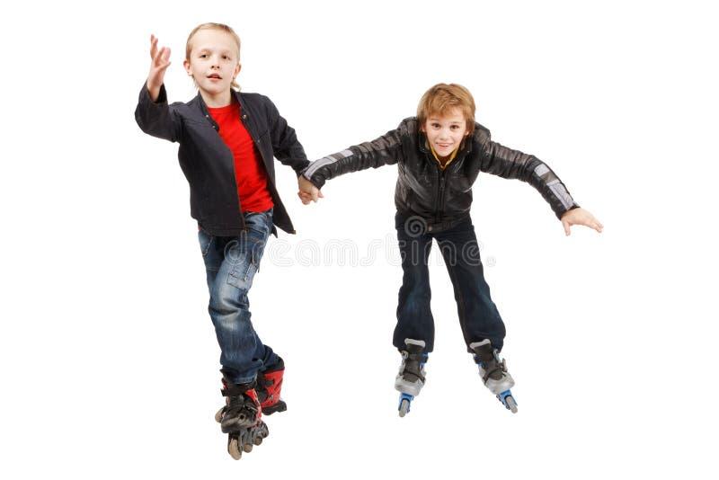 Meninos felizes do rolo imagens de stock