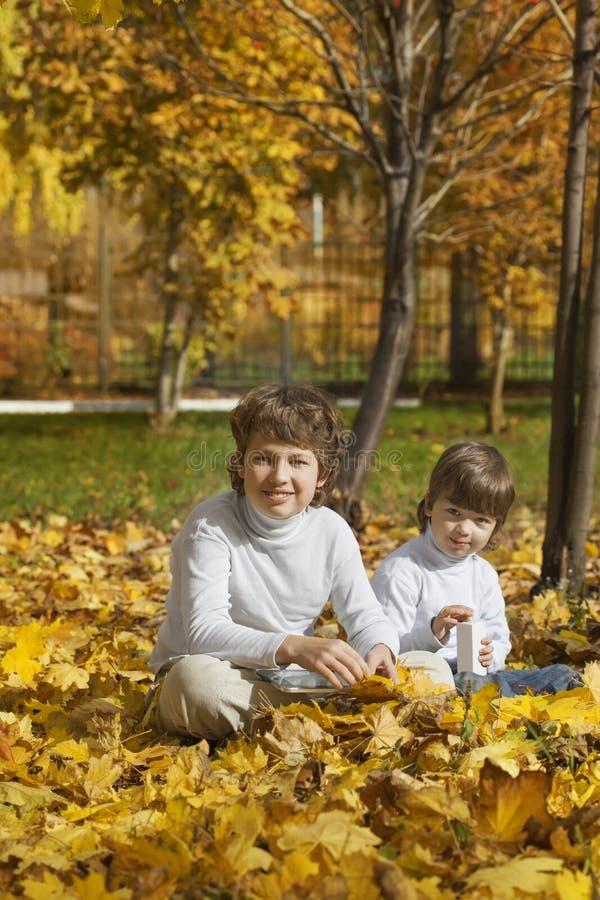 Meninos felizes no parque do outono fotos de stock royalty free