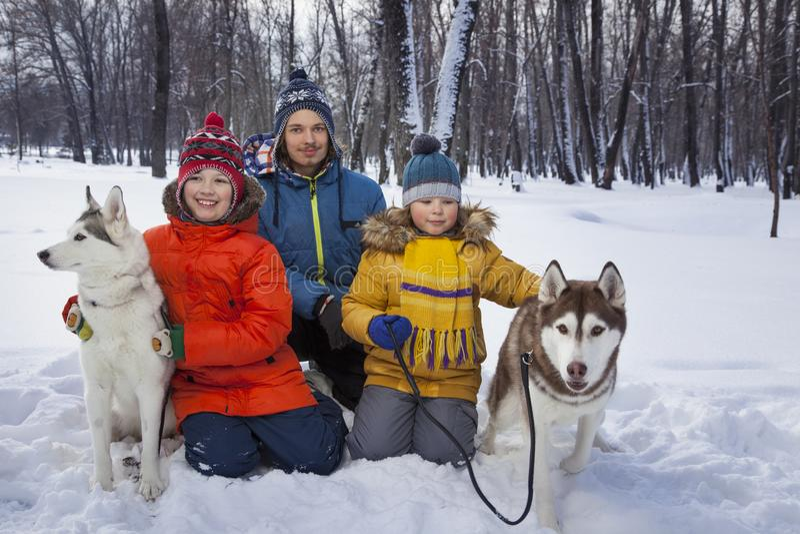 Meninos felizes que jogam com cão ou cão de puxar trenós fora no inverno a Dinamarca ensolarada foto de stock