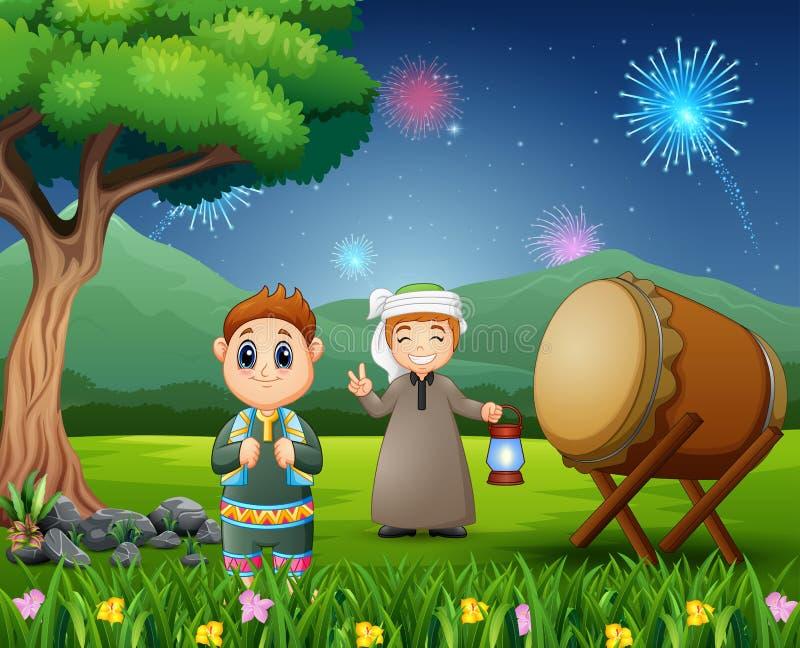 Meninos islâmicos que guardam a lanterna para celebrações de Eid Mubarak ilustração stock