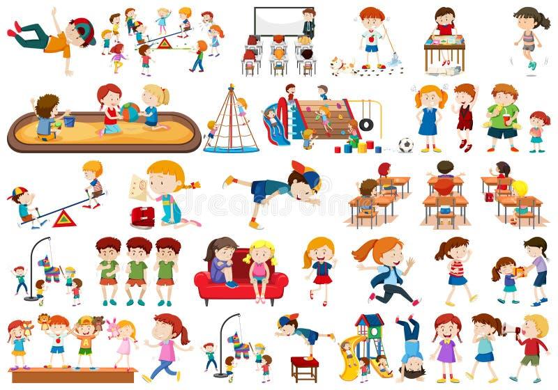 Meninos, meninas, crianças no tema activty do divertimento educacional ilustração stock