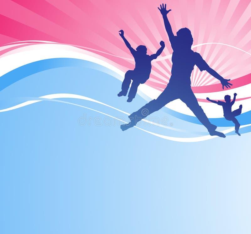 Meninos novos que saltam de encontro a um fundo abstrato. ilustração stock