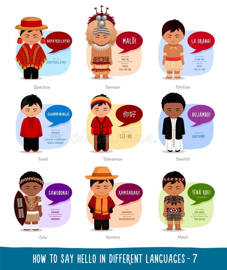 Meninos que dizem o olá! em línguas estrangeiras ilustração royalty free