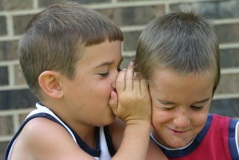 Meninos que dizem segredos imagens de stock royalty free