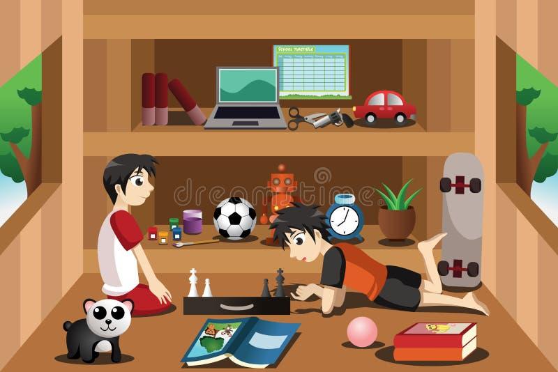 Meninos que jogam dentro de uma casa na árvore ilustração do vetor