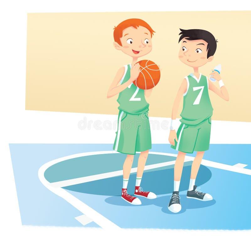 Meninos que jogam a esfera da cesta ilustração stock