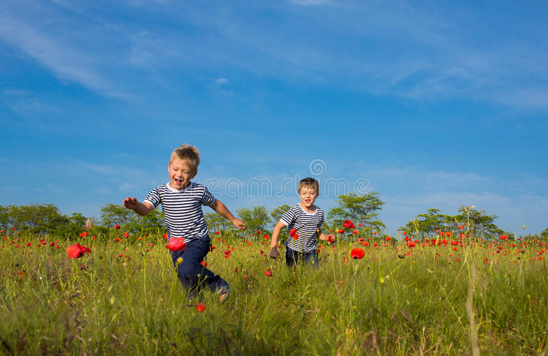 Meninos que jogam no prado imagens de stock