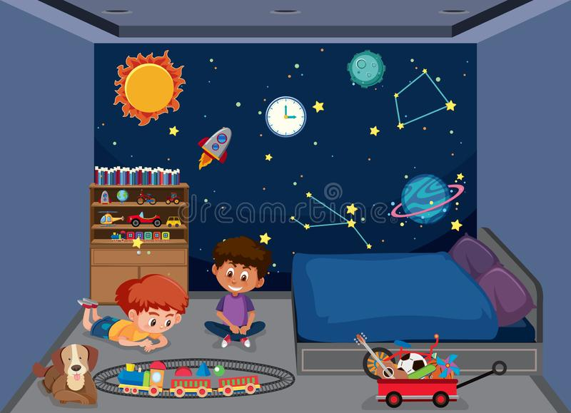 Meninos que jogam no quarto ilustração royalty free
