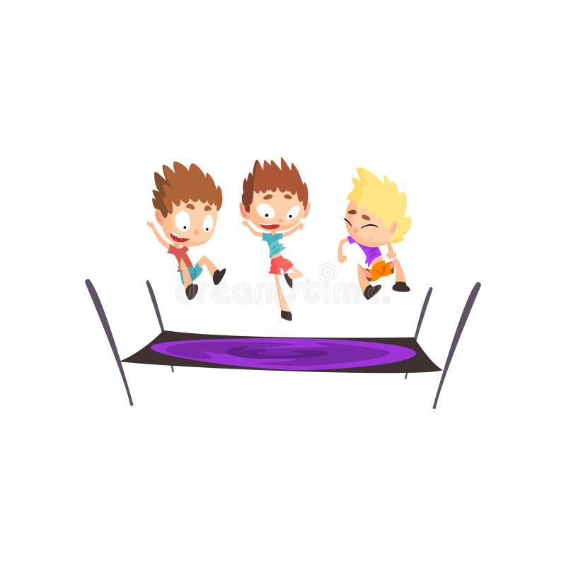 Meninos que jogam o trampolim, saltando as crianças que têm o divertimento na ilustração do vetor do trampolim em um fundo branco ilustração do vetor