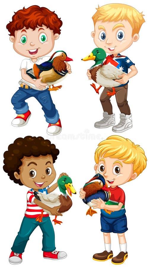 Meninos que levam patos pequenos ilustração royalty free