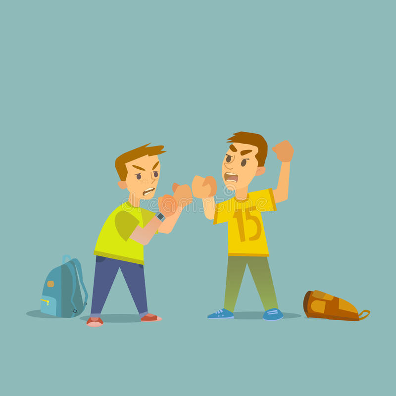 Meninos que lutam e que obtêm a ilustração ferido ilustração stock