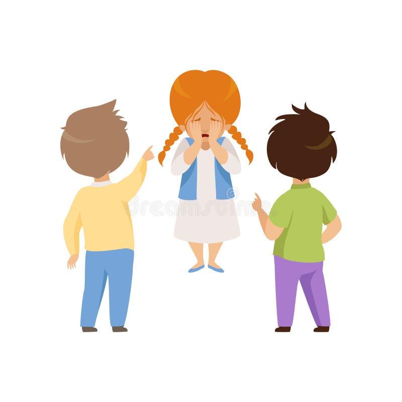 Meninos que zombam e que apontam em uma menina de grito, em um comportamento mau, em um conflito entre crianças, em uma zombaria  ilustração royalty free