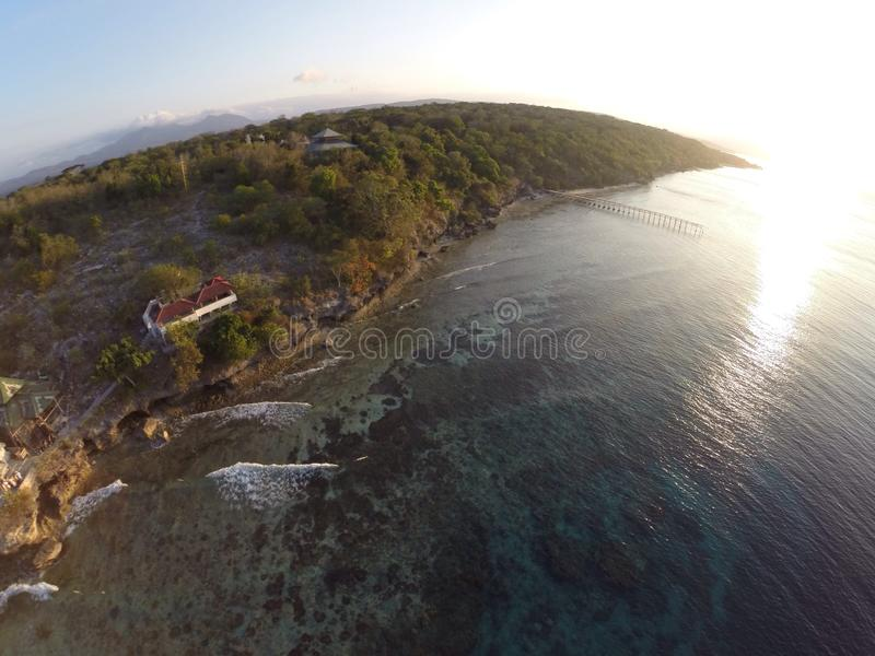 Menjangan island. Aerial photo of menjangan island that located in bali. There is many temple and deer. Beautiful beach and cliff jump. Best for snorkling and stock photos