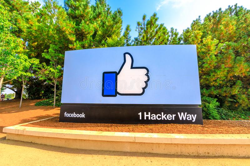 Facebook Like Button. Menlo Park, California, United States - August 13, 2018: A sign at entrance to Facebook Headquarters, world leader social network company royalty free stock image