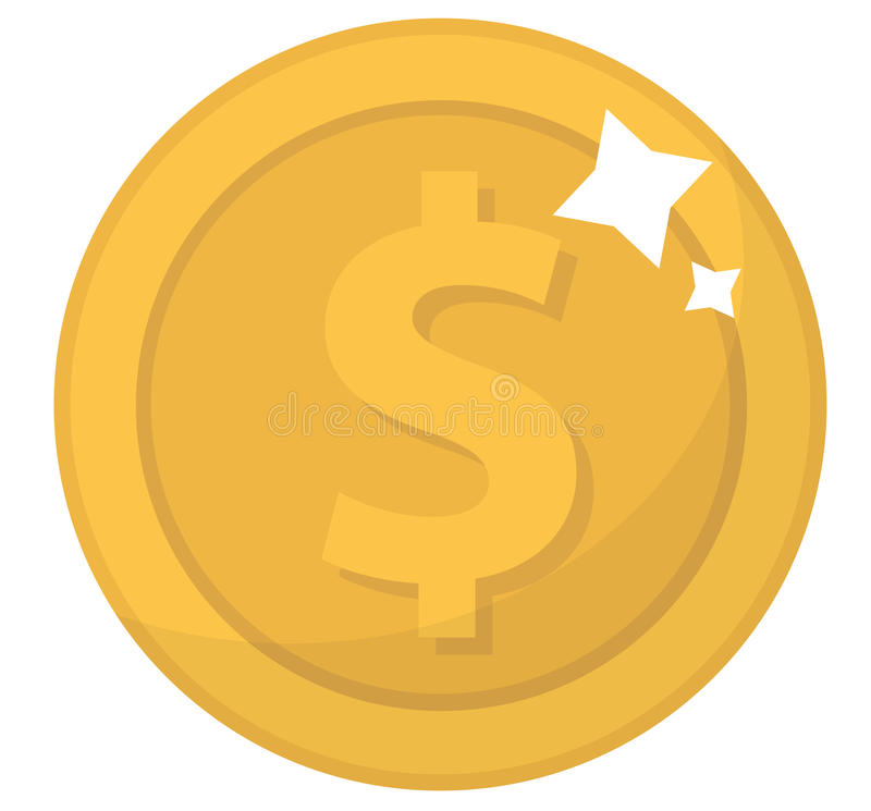 Mennicza ikona, płaski projekt Złociste monety, cent, odizolowywający na białym tle Pieniądze dla mobilnych zastosowań i gier wek ilustracja wektor