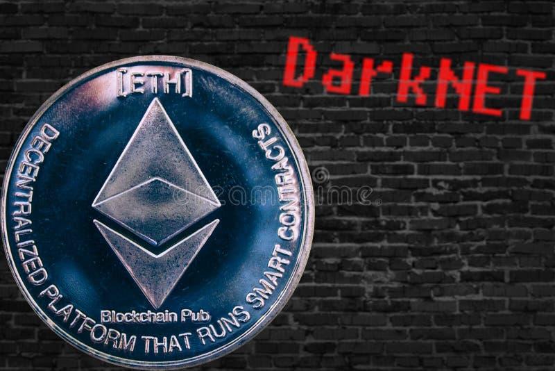 Menniczy cryptocurrency Ethereum ETH i czarna cegły ściana Darknet fotografia stock