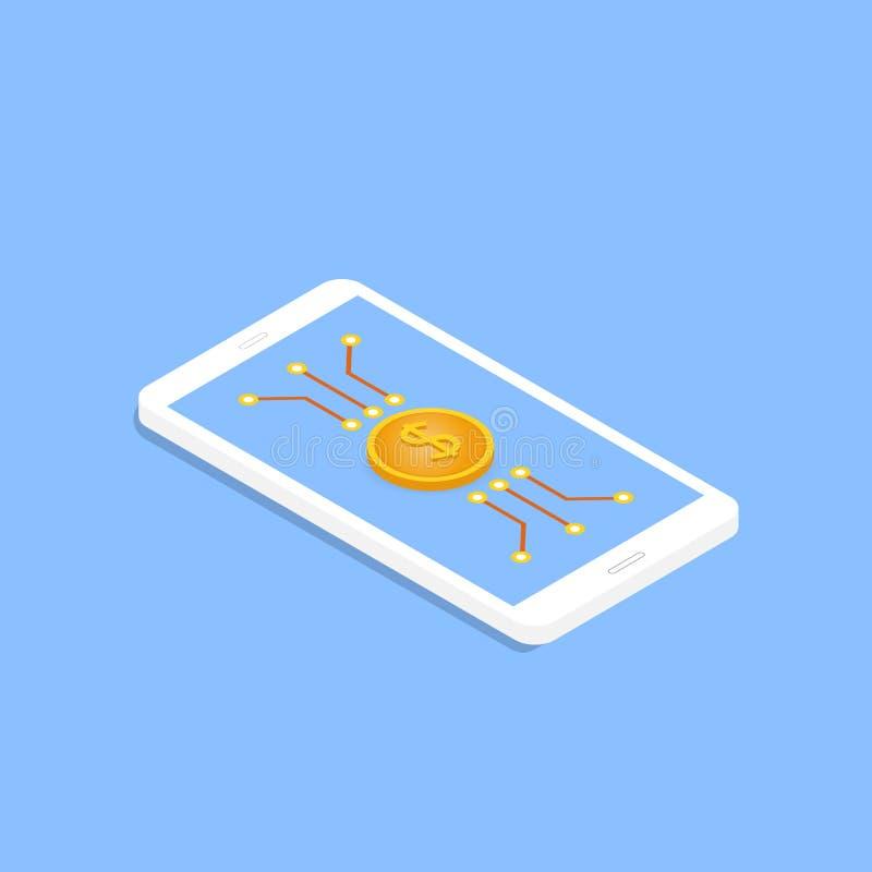 Menniczy dolara i płyty głównej kontakty na twój telefonie komórkowym royalty ilustracja